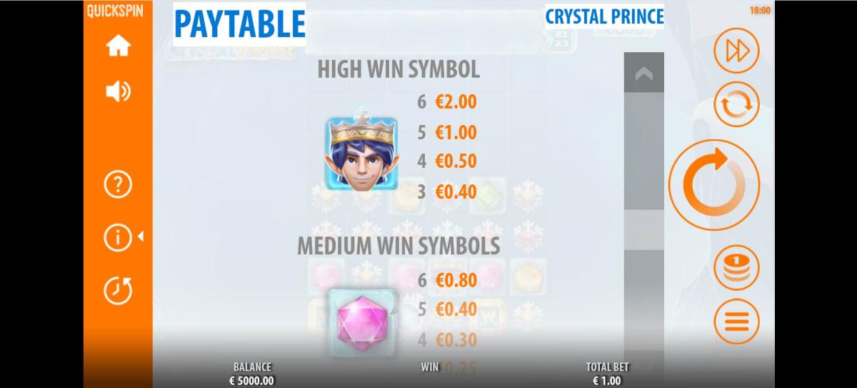 crystal prince paytable