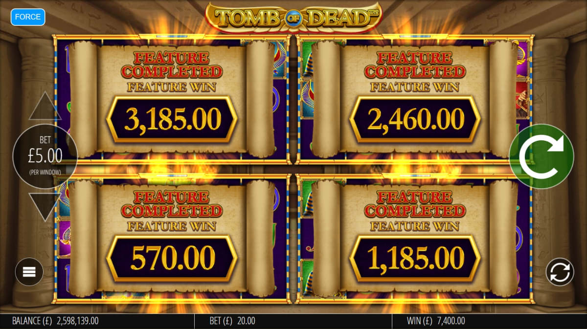 add winnings after triggering free spins on all 4 screens pic
