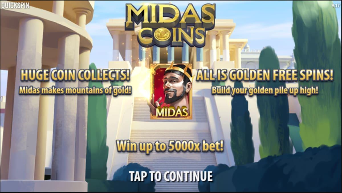midas coins splash screen