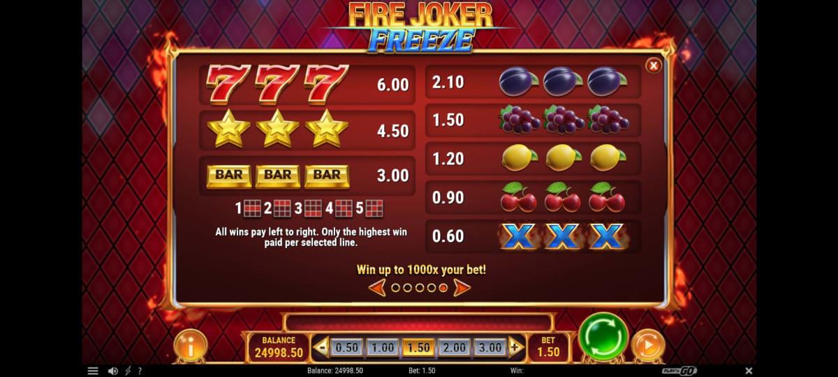 fire joker freeze paytable