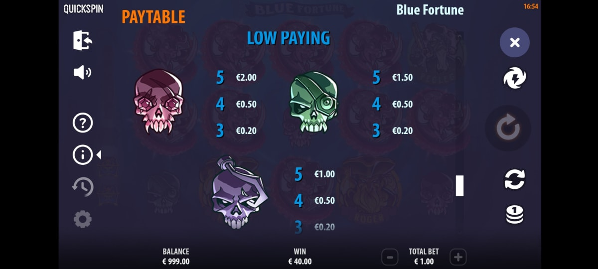 blue fortune paytable