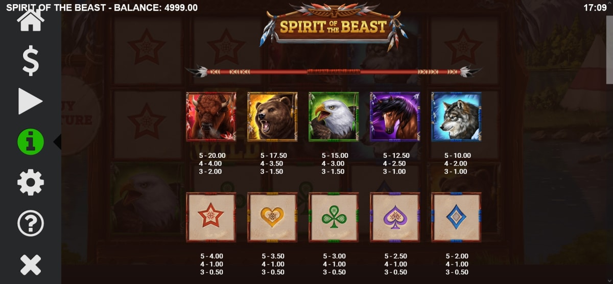spirit of the beast paytable