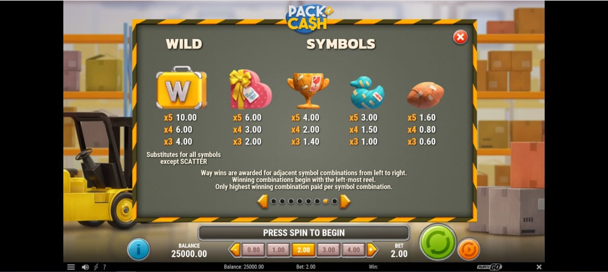 pack and cash paytable