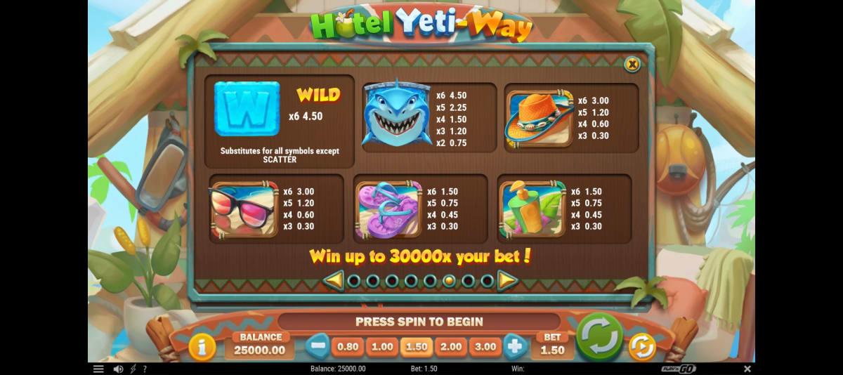 hotel yeti ways paytable