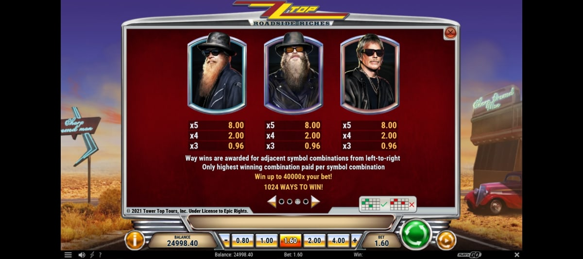 zz top roadside riches paytable2