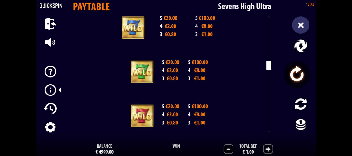 sevens high ultra paytable