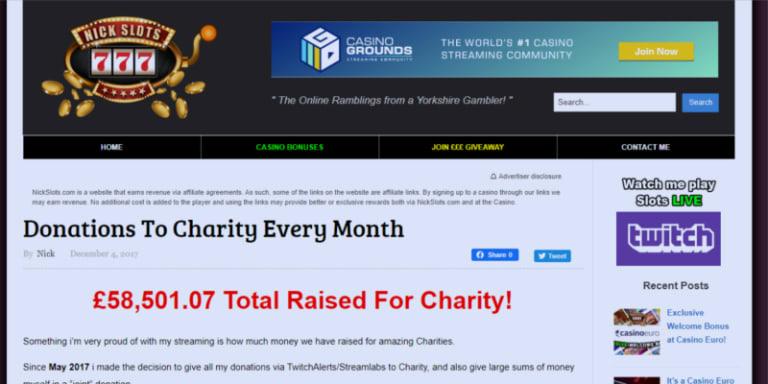 Nickslots Charity Donations