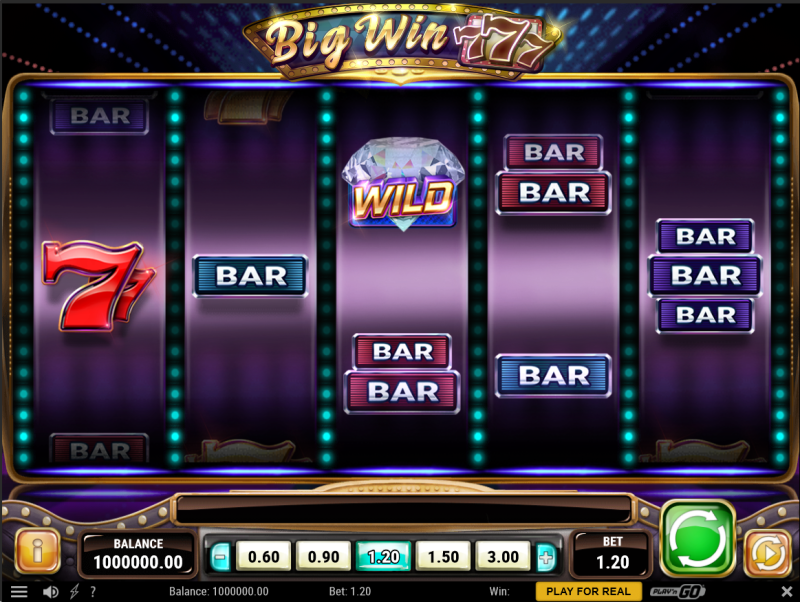 Screenshot of the base game in the Big Win 777 slot by Play'n GO