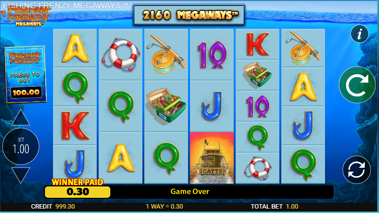 Screenshot of the base game in the fishing frenzy megaways slot