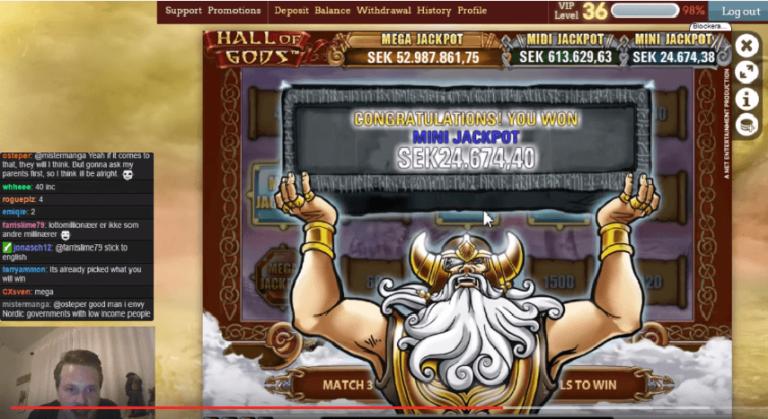 LetsGiveItASpin's Hall of Gods Mini Jackpot on Stream