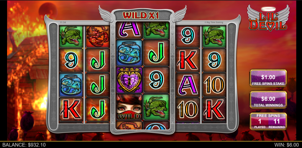 Dynamite Lover Free Spins Feature in the Lil Devil Slot by Big Time Gaming