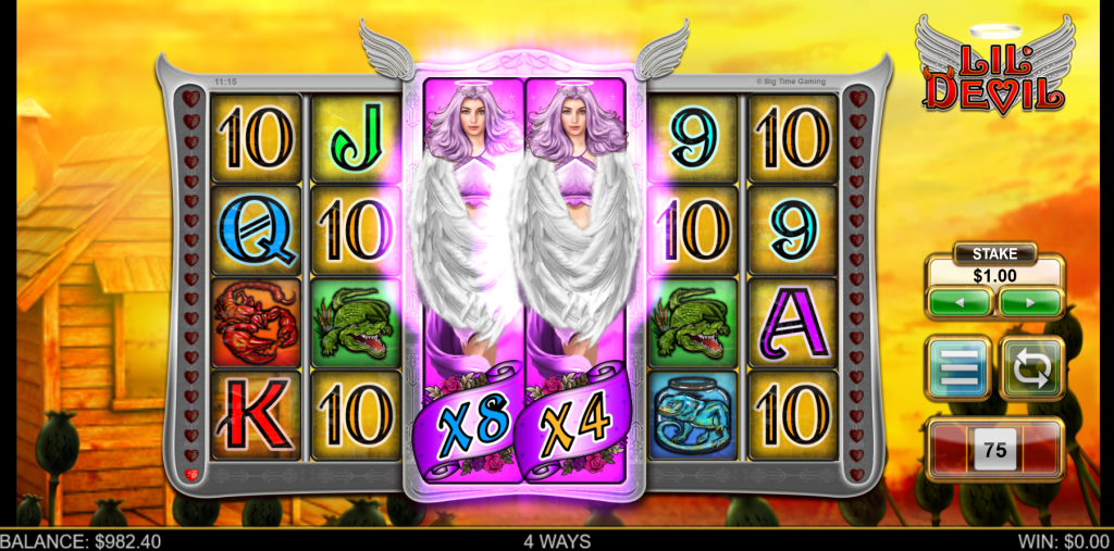 Angel Wilds feature in the Lil Devil slot by Big Time Gaming