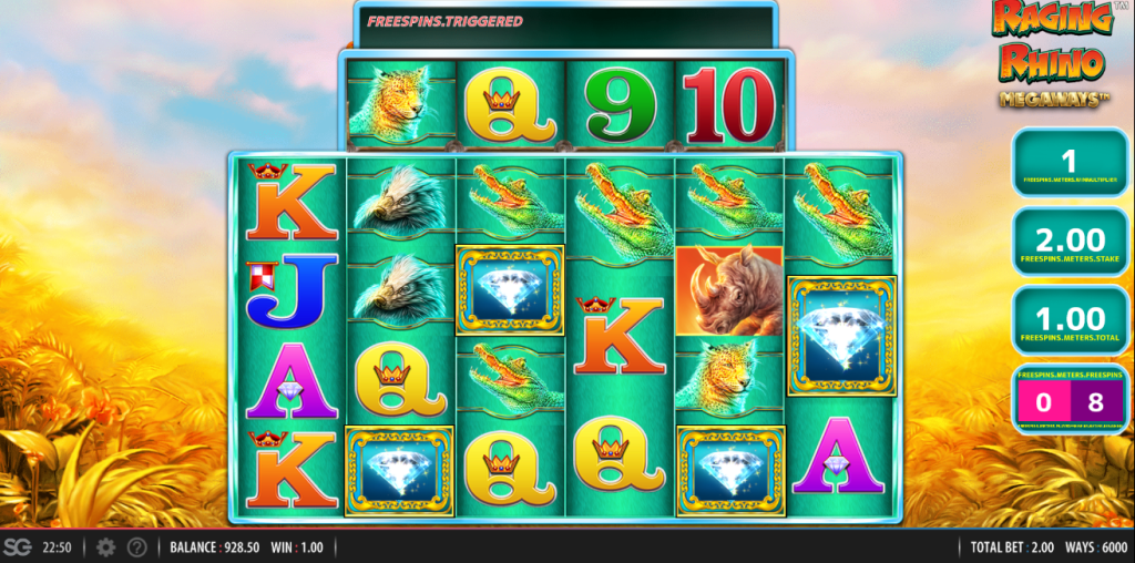 Screenshot of Multiplier Wilds in Raging Rhino Megaways (WMS)