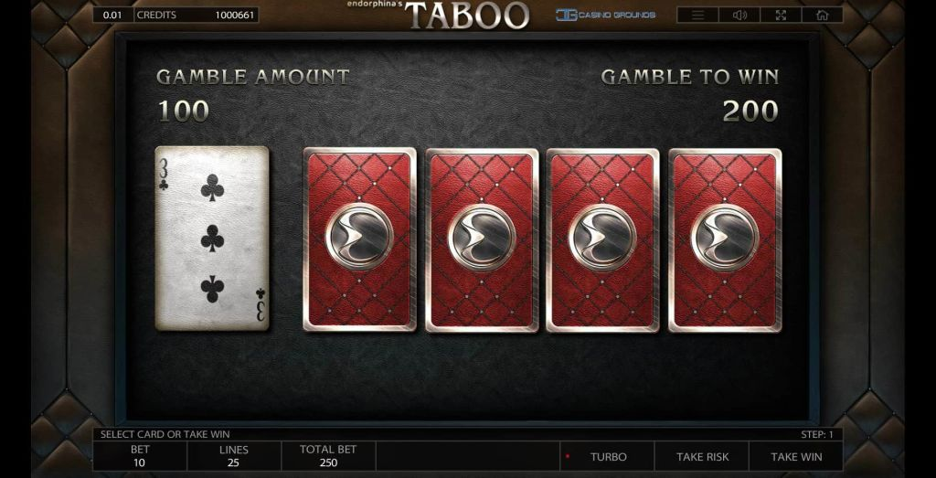 Endorphina -Taboo - gamble feature - casinogroundsdotcom
