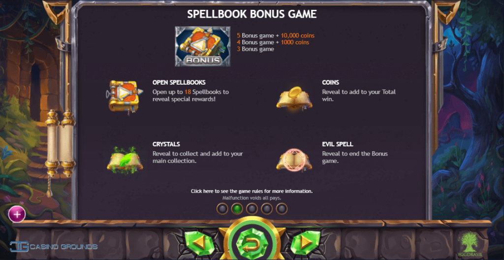 Spellbook Bonus game from Yggdrasil, giving coins, crystals and more.