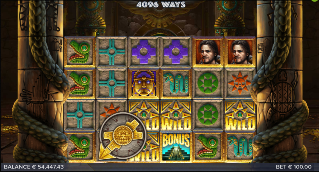 Screenshot of base game in the Equador Gold slot (Elk Studios)