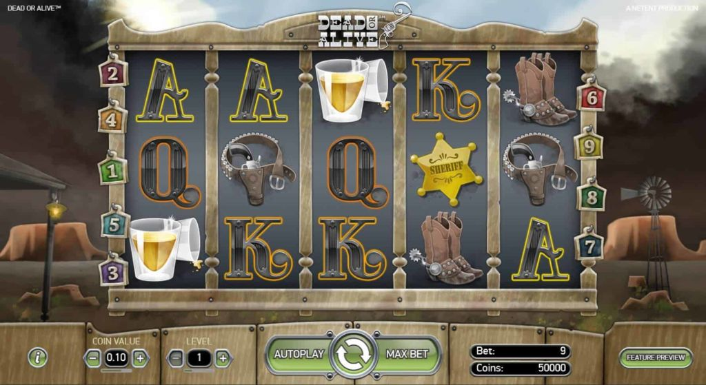 Reels in base game of Dead or Alive slot by Net Entertainment