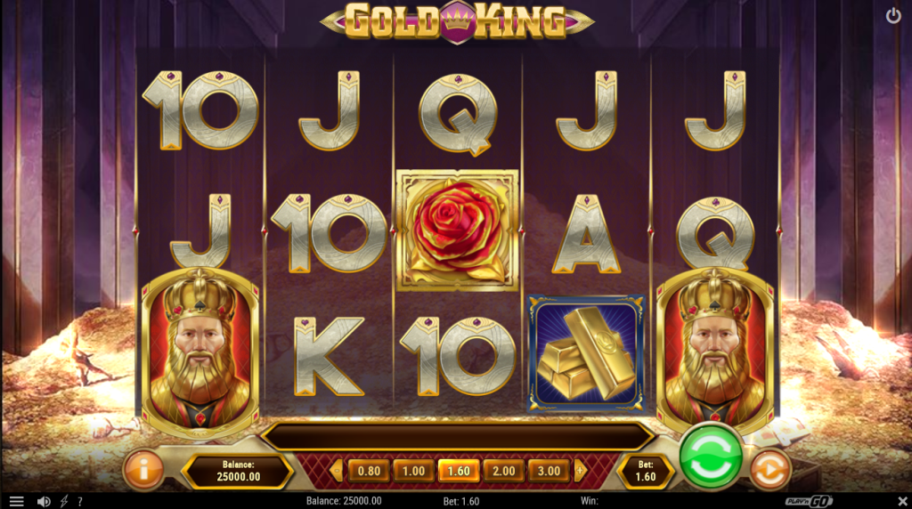 Screenshot of the Base Game in the Gold King Slot by Play'n GO