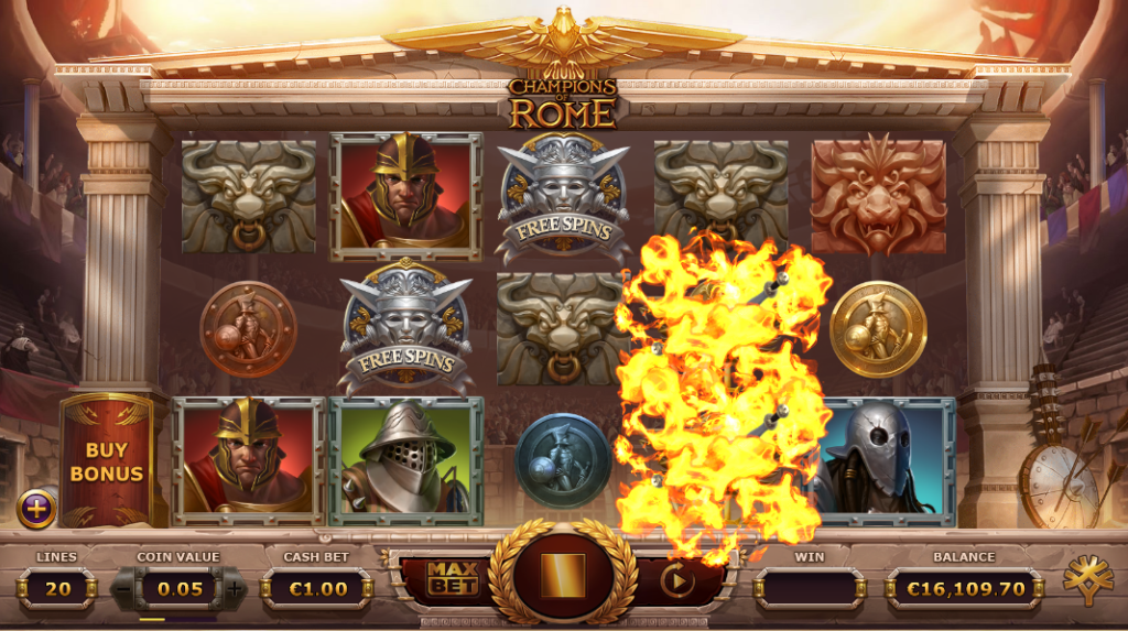 Champions of Rome slot Gladiator Feature - Yggdrasil Gaming - Review