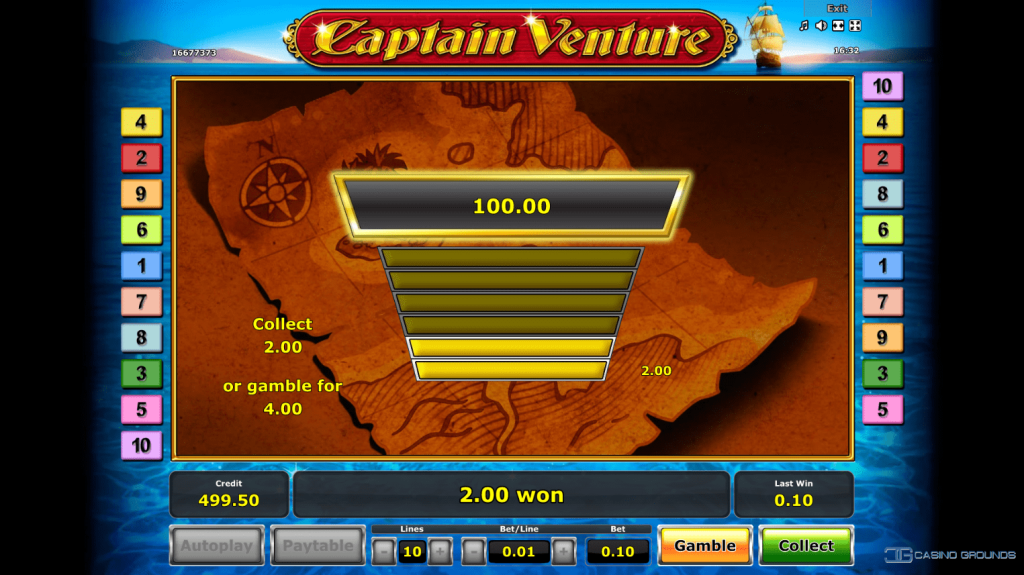Novomatic - Captain Venture - Gamble Feature - casinogroundsdotcom
