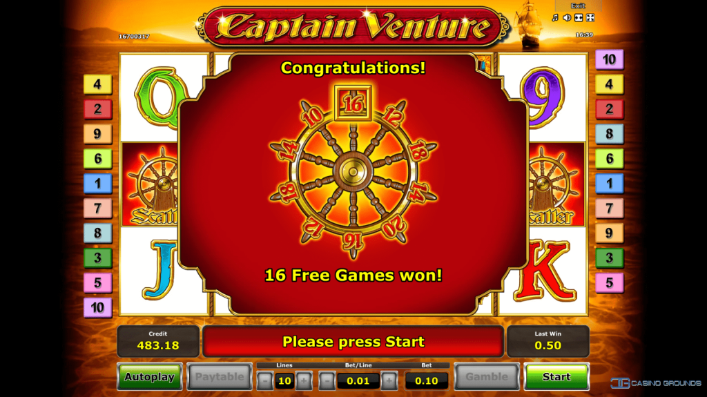 Novomatic - Captain Venture - Free spin won - casinogroundsdotcom