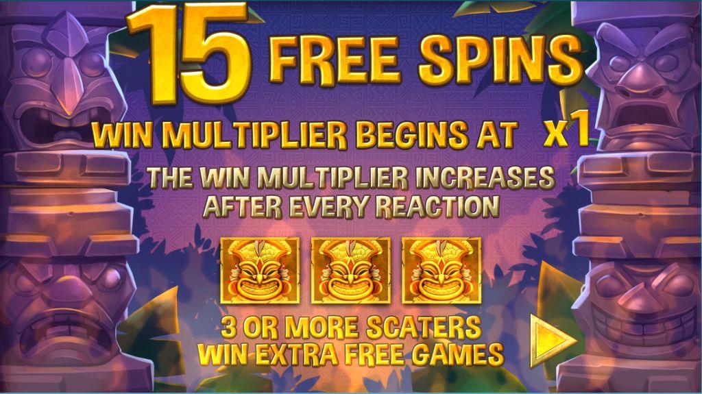 Screenshot of the base game in the Tiki Treasures Megaways Slot by Blueprint Gaming