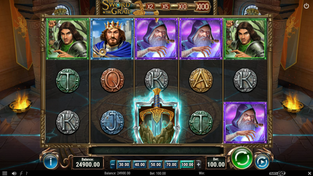 Screenshot of the Base Game in the The Sword and the Grail Slot by Play'n GO
