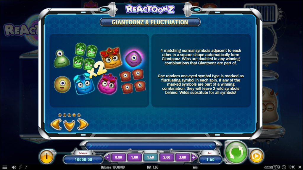 play n go - Reactoonz - rules -Giantoons and Fluctuation - casinogroundsdotcom