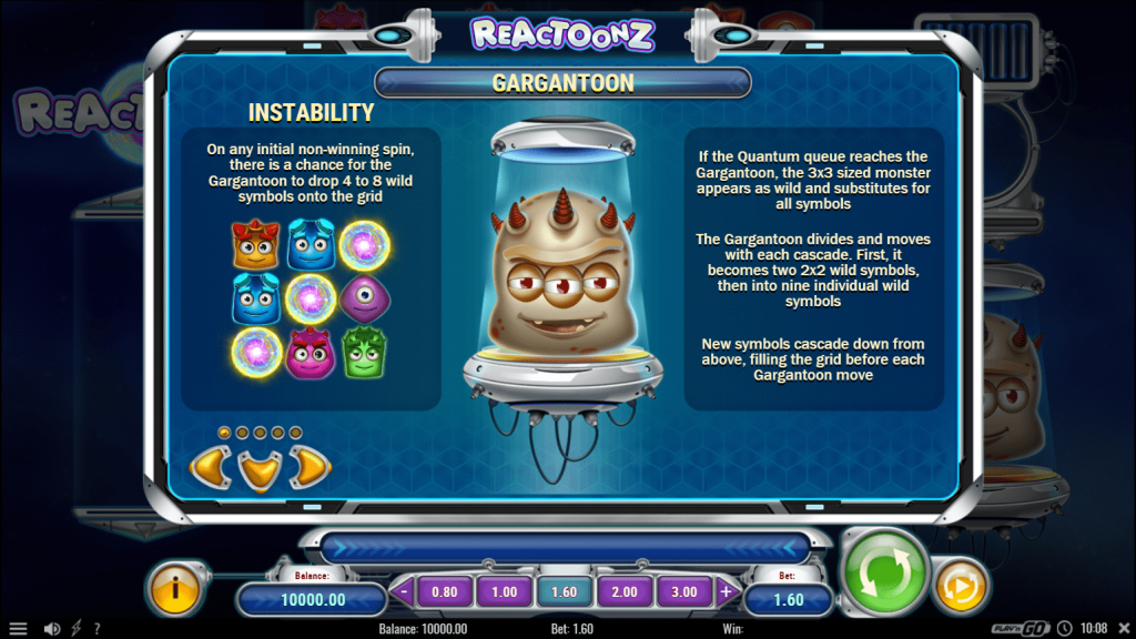play n go - Reactoonz - rules - Gargantoon and Instability - casinogroundsdotcom