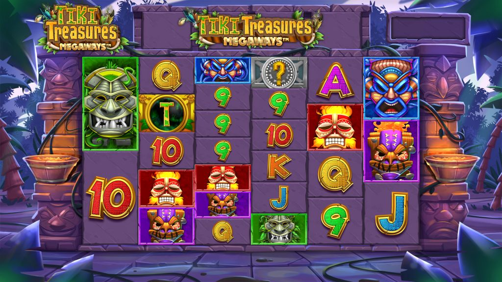 Screenshot of the base game in the Tiki Treasures Megaways Slot by Blueprint Gaming