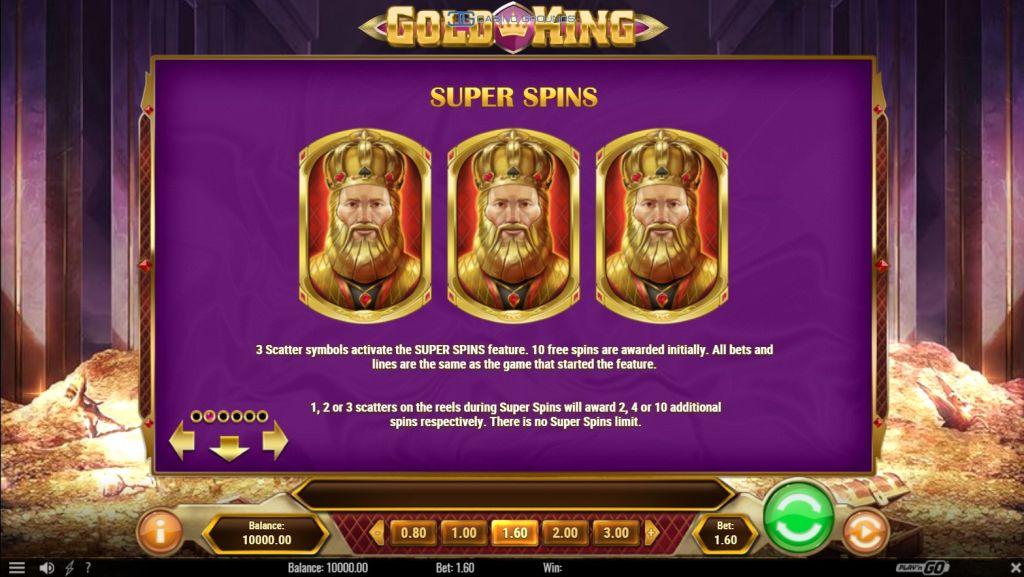 Playngo - Gold King - Rules - Super Spin- casinogroundsdotcom