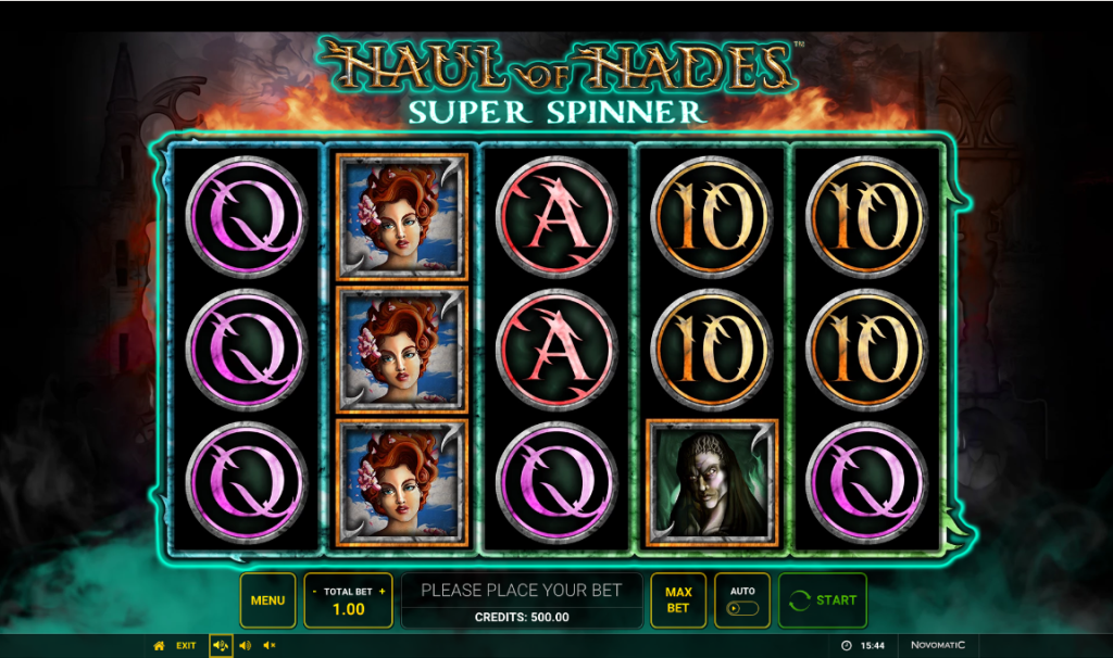 Screenshot of the Base Game in the Haul of Hades Super Spinner Slot by Novomatic