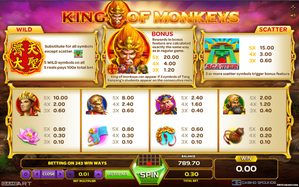 These free-spins grants a slightly higher pay-out on all symbols, but that is not all! Your questing companion might be able to summon a mighty dragon to get even more prizes during the spins.