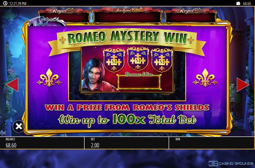 Blueprint - Romeo And Juliet - Rules - Romeo Mystery Spin- Casinogroundsdotcom