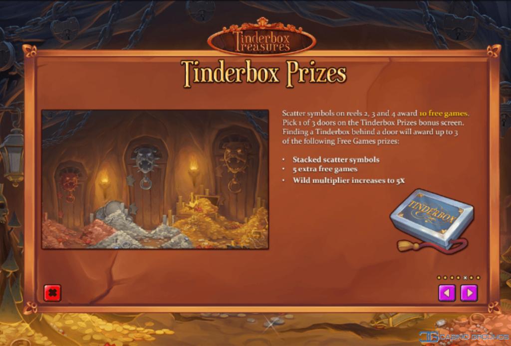 Playtech – Tinderbox Treasures - Rules - Scatters- Casinogroundsdotcom