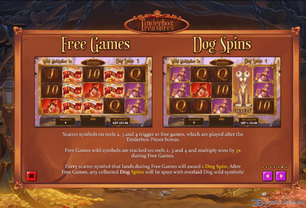 Playtech – Tinderbox Treasures - Rules - Free Games and Dog Spins Casinogroundsdotcom