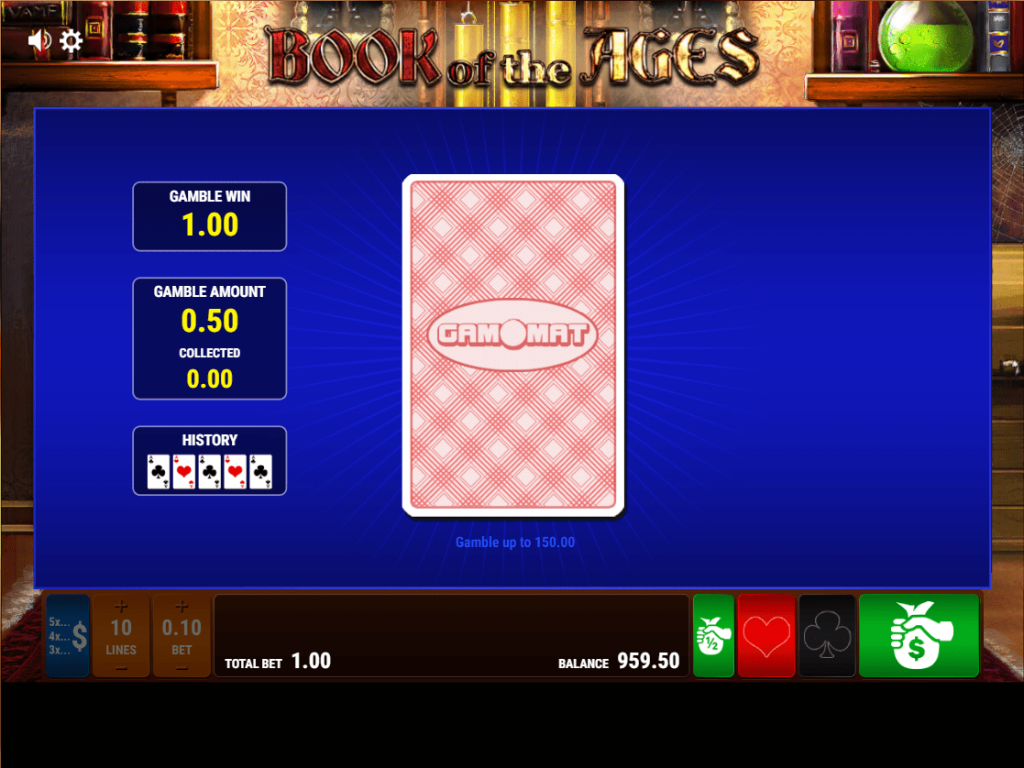 Gamomat - Book of the ages - Gamble Card - casinogroundsdotcom