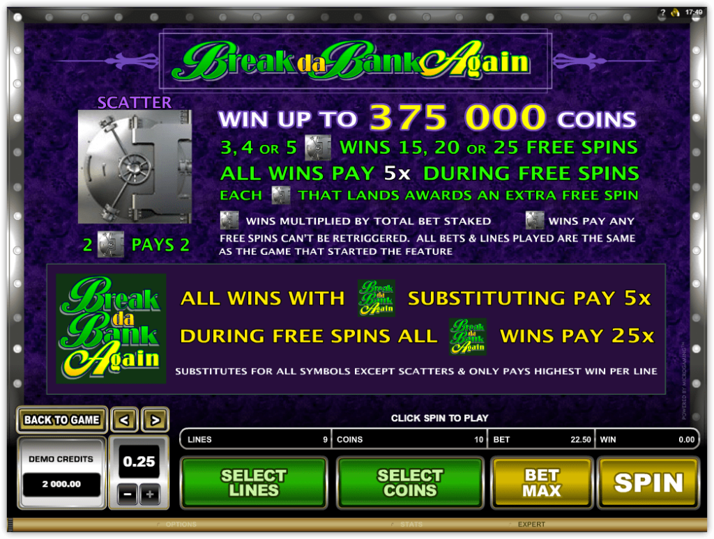 Microgaming - Break Da Bank Again - Rules - Wins Special Symbol - Casinogroundsdotcom