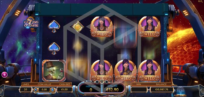 Cazino Cosmos Slot Feature Sticky Wilds Screenshot By Microgaming