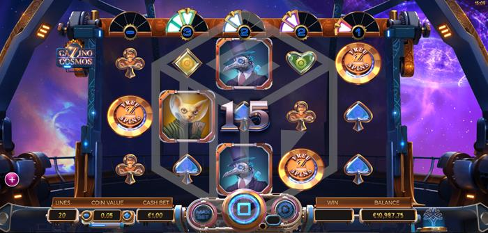 Cazino Cosmos Slot Feature Trigger Screenshot By Microgaming