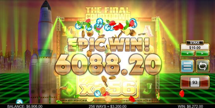 The Final Countdown 256X Multiplier Big Win Screenshot By Big Time Gaming