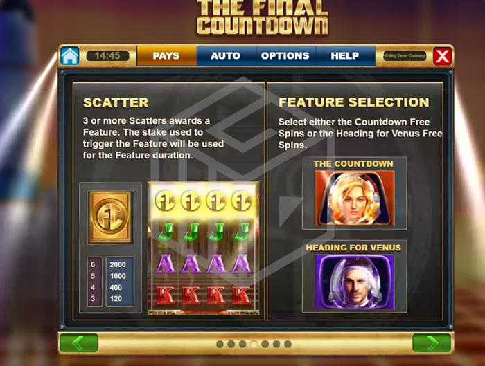 The Final Countdown Slot Feature Info  Screenshot By Big Time Gaming