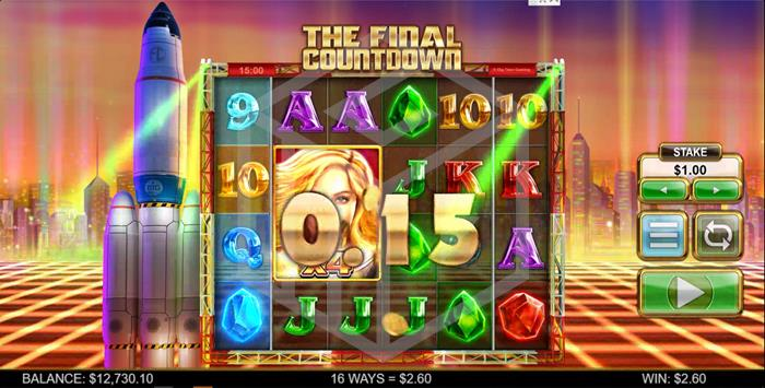 The Final Countdown Slot Main Reels With X4 Wild  Screenshot By Big Time Gaming