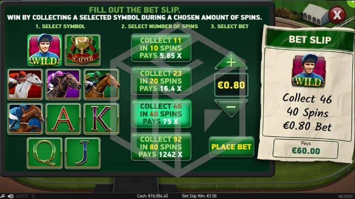 Scudamores Super Stakes Slot Bet Slip Feature Screenshot By NetEnt