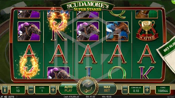 Scudamores Super Stakes Slot Horse Shoe Feature Screenshot By NetEnt