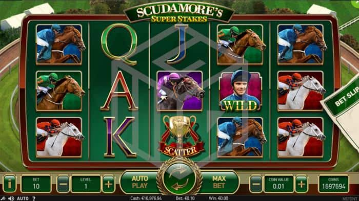 Scudamores Super Stakes Slot Main Reels Screenshot By NetEnt