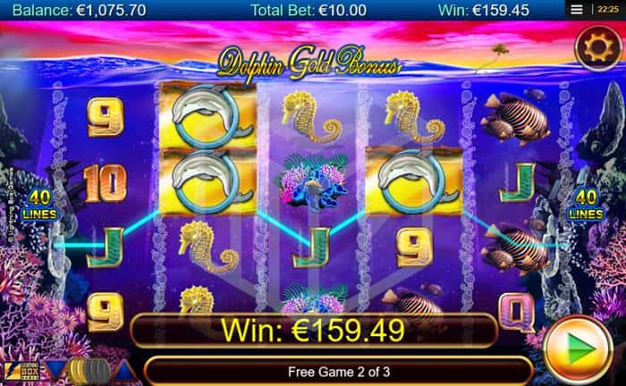 Dolphin Gold Slot Feature Reels Screenshot By Lightning Box
