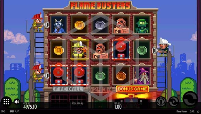 Flame Busters Slot Main Reels And Feature Trigger Screenshot By Thunderkick