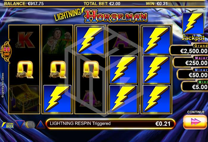 Lightning Horseman Slot Re-Spin Feature Screenshot By Lightning Box