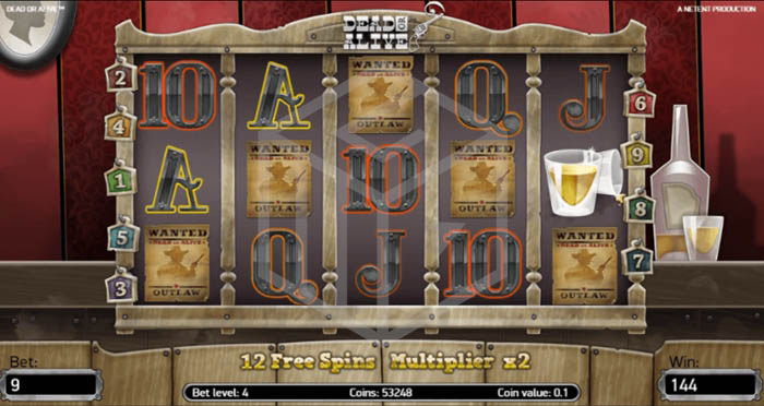 Free Spins feature of Dead or Alive slot by Net Entertainment